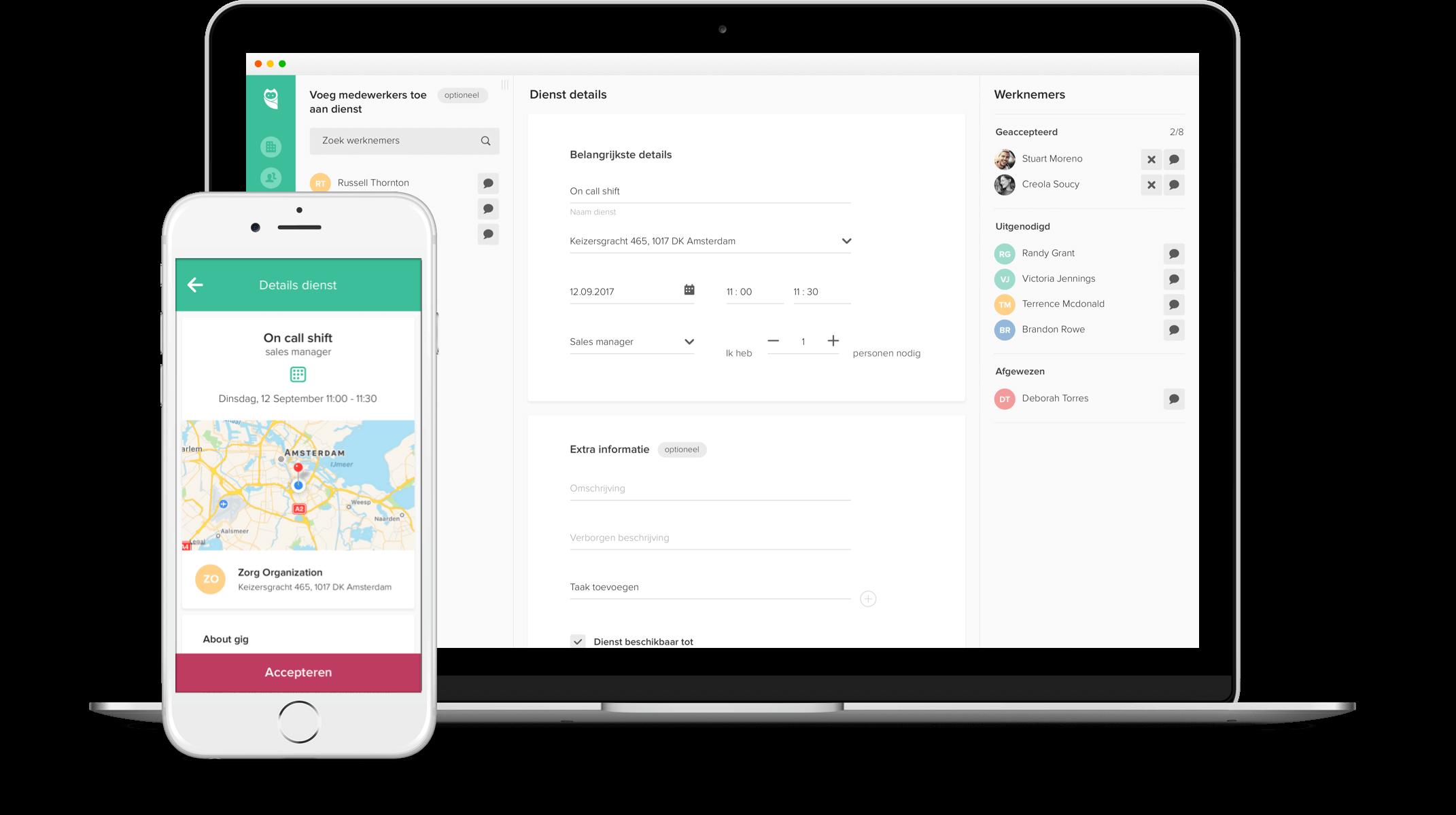 Planning software openstaande diensten aanmaken