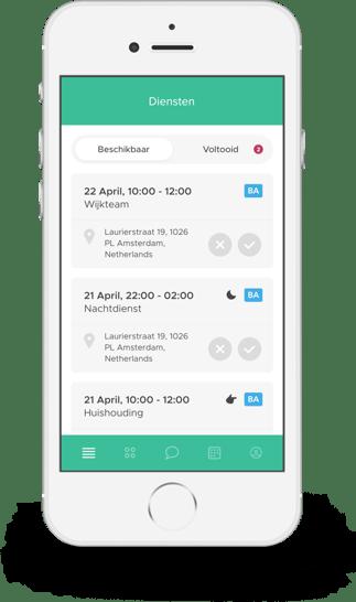 clevergig openstaande diensten ontvangen op de app